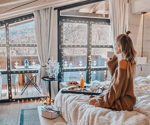 girl, winter, and breakfast image
