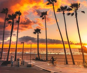 california, clouds, and palms image