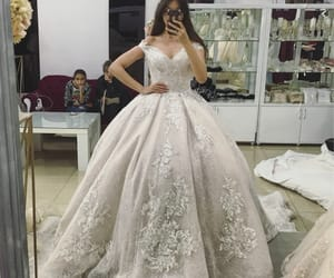 bridal gown, bride, and crown image