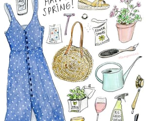 cute drawing, fashion illustration, and spring time image