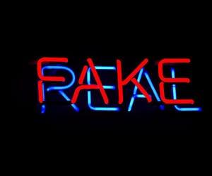 fake, neon, and real image