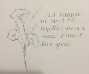 drawing, quote, and flowers image