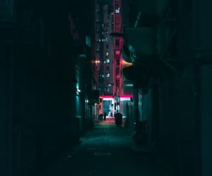 alley way, dark, and bright lights image