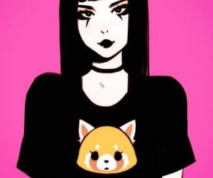 anime girl, choker, and eyeliner image