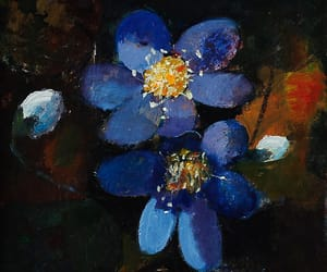 blue, forget me not, and Oil Painting image