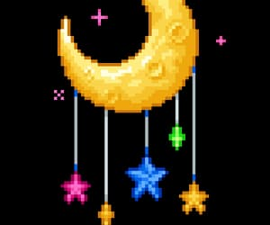 moon, pixel, and png image