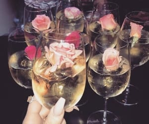 drink, flowers, and rose image