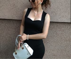 accessories, black dress, and fashion image