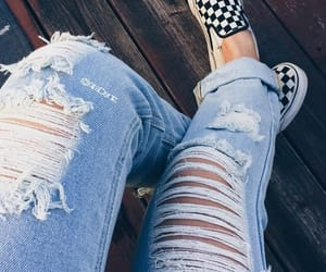 sneakers, ripped jeans, and vans image