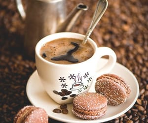 coffee, macaroons, and food image