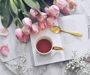 books, tea, and tulip image