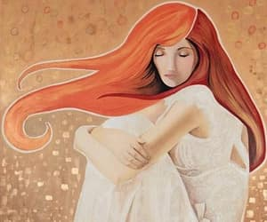 redhead white dress, pondering meditation, and waiting deep thoughts image