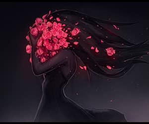 roses hair shadow and red roses black white art image