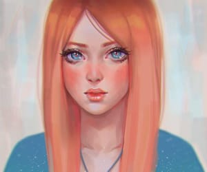big blue eyes, mermaid shell, and redhead etheral art image