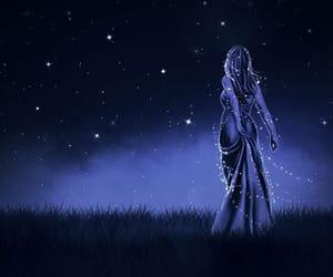 art, girl, and stars image