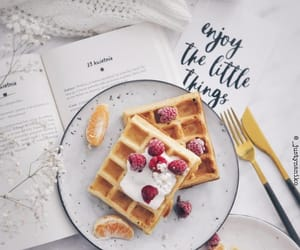 books, breakfast, and waffles image