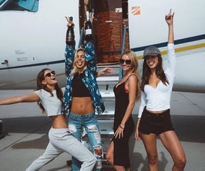 girl, friends, and plane image