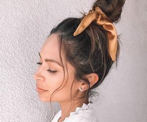 beauty, hair scarf, and bun image