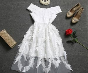 dress, moda, and white image