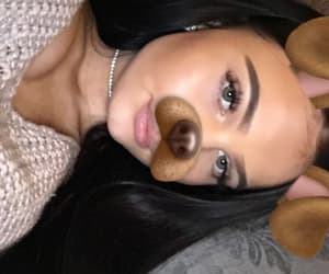 black hair, puppy filter, and eyebrows image