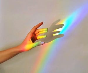 rainbow, hand, and art image