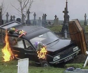 car, fire, and grunge image