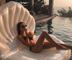 girl, luxury, and pool image