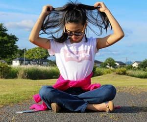 blue sky, girly, and jeans image