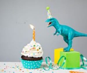 birthday, cupcake, and dinosaur image