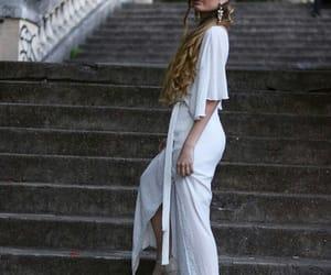 bride, earrings, and long dress image