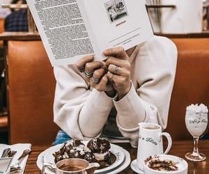 book, food, and girl image