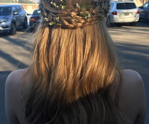 flowers, hair, and flowercrown image