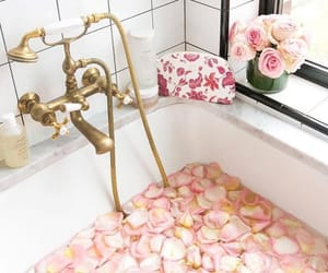 bath, flowers, and gold image