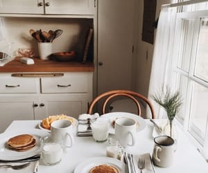 pancakes, kitchen, and breakfast image
