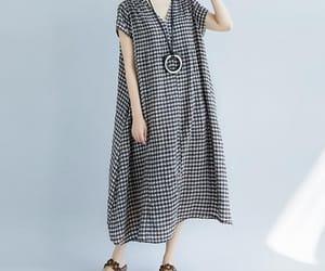 linen dress, long dress, and plaiddress image