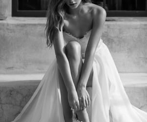 black and white, dress, and girl image