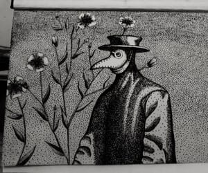 art, plague doctor, and black and white image