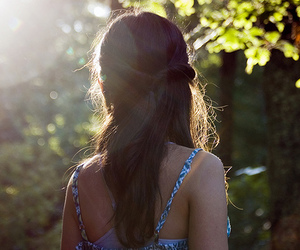 blue, long hair. photography, and brunette image