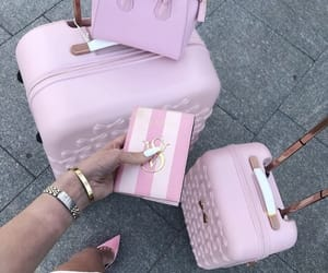 pink, travel, and bag image