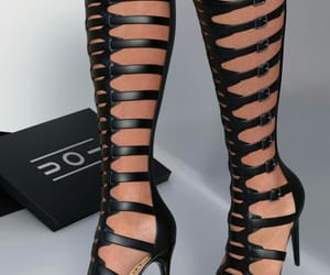 high boots, high heels, and strappy boots image