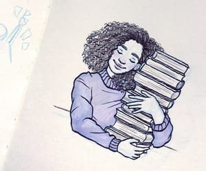 art, books, and bookworm image