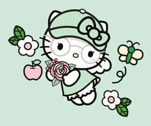 green, hello kitty, and kawaii image