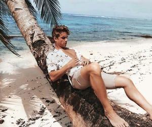 beach, boy, and feet image