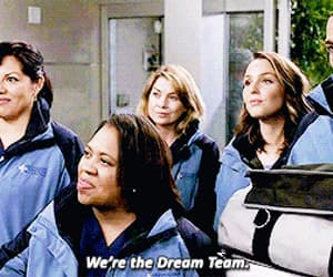 dream team, gif, and meredith grey image