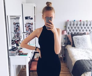 black dress, decor, and makeup image