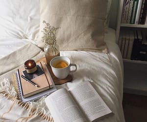 book, interior, and tea image