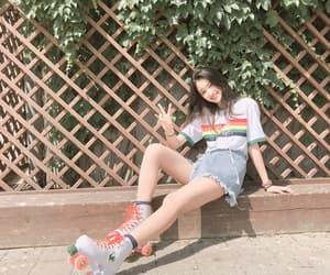 girl, korean, and rainbow image