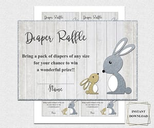 neutral baby shower, diaper raffle ticket, and invitation insert image
