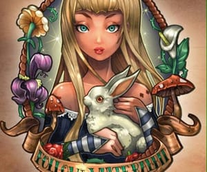 alice in wonderland, follow the white rabbit, and tim shumate illustrations image