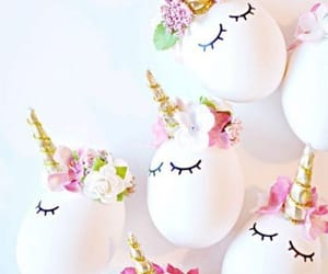 unicorn, egg, and flowers image